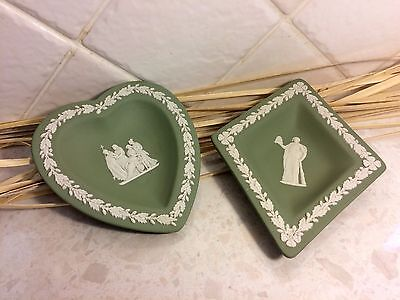 2 x Vintage Wedgwood Green Jasperware Diamond and Heart Dish / Tray