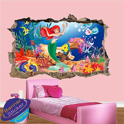 Little Mermaid In Sea 3D Smashed Wall Stickers Girls Room Decoration Decal Mural
