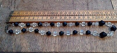 Great Vintage Glass Bead Necklace, Black And Clear Beads