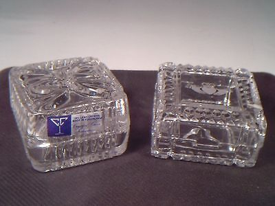2 Trinket Boxes Galway Irish Crystal Etched Hands & Yugoslavia 24% Lead Crystal