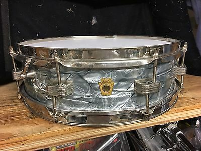 1960's Ludwig Keystone Badge Sky Blue Pearl 4x14 Downbeat Snare Drum-