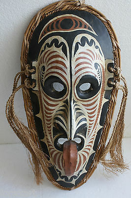 "Antique Ethnographic Danced Wooden Mask Lombok Java Indonesia Collectible 20"" RR"