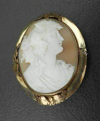 Lovely Cameo Brooch Of Female Head In Profile Unmarked Gold Coloured Metal Mount