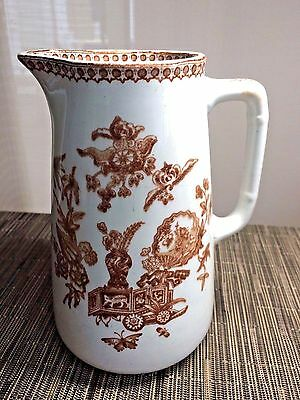 Antique Aesthetic Brown Transferware Water Pitcher