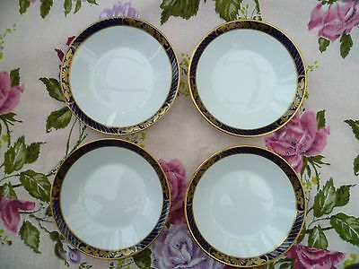 4 Spode English China Little Sweet Dishes Blue Gilded Envoy Y 8360