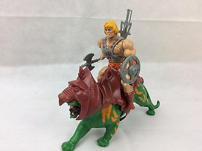 He-Man And Battle Cat, Motu, Master Of The Universe, 1980S, Vintage Old Toy