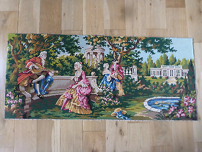 """Large French Completed Wool Tapestry Period People & Buildings 44 """" x 19.5 """""""