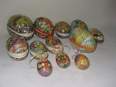 Lot 12 Vtg Paper Mache Easter Eggs Container West Germany Bunnies Chicks Ducks