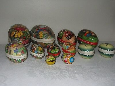 Lot 12 Vtg Easter Eggs Paper Mache Container West Germany Bunnies Chicks Neuhaus