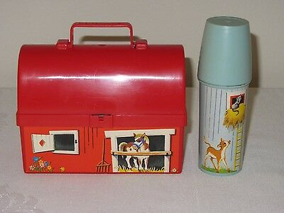 Vintage Fisher Price Toys 1962 Mini Farm Barn Plastic Lunchbox Thermos #549