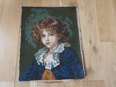 """French Completed Wool Tapestry 'Jeune Garcon' J P Greuze Young Boy 14.5 """" x 19 """""""