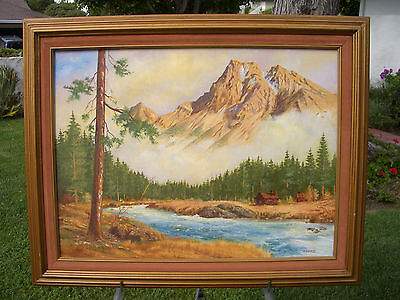 "LLOYD E. MAXWELL ORIGINAL OIL ON CANVAS LANDSCAPE PAINTING 18"" x 24"" LOT # 20"