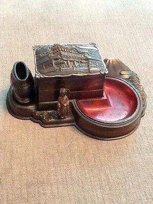 A Vintage Sankyo Combined Music Box Ashtray Cigarette Box & Vesta Japan