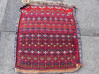 Old Traditional Hand Made Persian Oriental Wool Red Colourful kilim 68x62cm