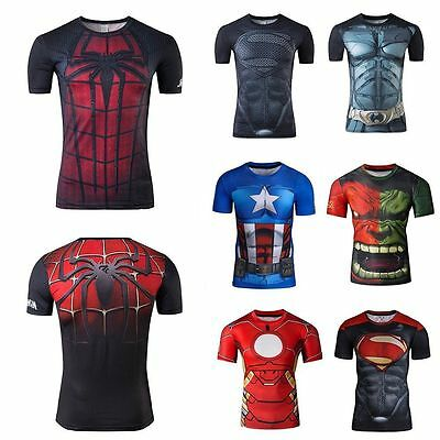 Mens t shirt compression top gym superhero avengers marvel muscle superman