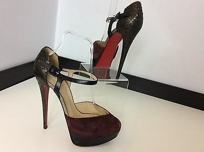 CHRISTIAN LOUBOUTIN black Suede Gold Python Court Peep Shoes Heels Size 39.5 Uk