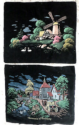 2 Vintage Hand PAINTED BLACK VELVET Pillow COVERS GERMANY