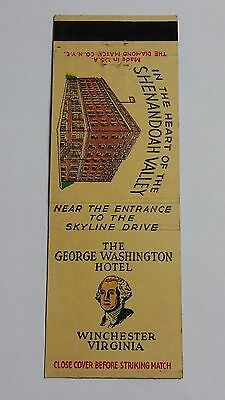 THE GEORGE WASHINGTON HOTEL WINCHESTER, VIRGINIA Matchbook Matchcover