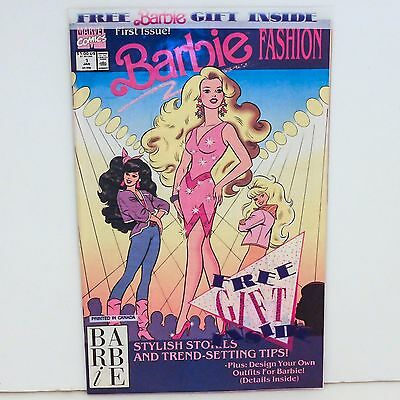 Marvel Comics BARBIE FASHION #1 Bagged w/ Barbie Door Knob Hanger 1991 NM to NM+