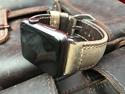 Quality Brown Leather Watch Strap Band For Apple Watch 42mm Series 1 2 Silver UK