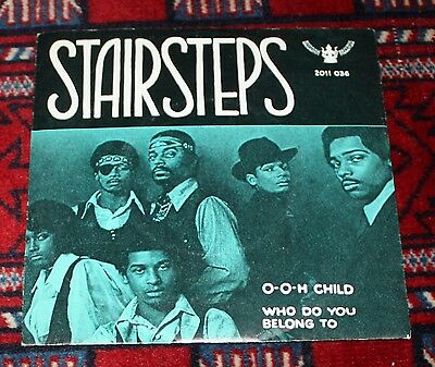 STAIRSTEPS 45 rpm O-O-Child Very Rare Soul 1970 Norway Rare PS Five Stairsteps