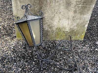 Old Metal Wrought Iron Lantern Wall Light Bracket / Glass Panels Ship Worldwide