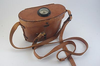 Bausch and Lomb binoculars leather compass case ONLY WWII vintage  BL brown