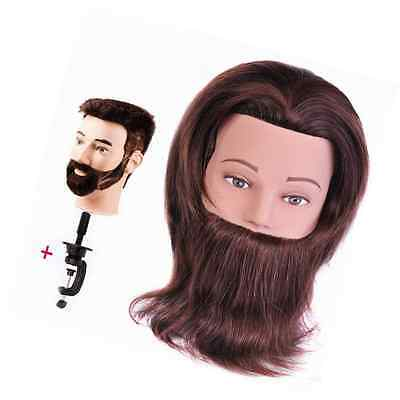 Man Training Head 100% Real Human Hair With Beard Cosmetology Hairdressing Manne