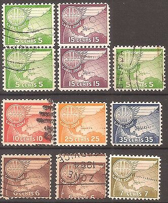 Canal Zone   Airmails   Used  11 mixed    Cat Val $12+
