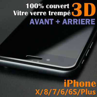 Iphone X 8/7/6S/6+ (Avant+Arriere) 3D Film Protection Ecran Verre Trempe Vitre