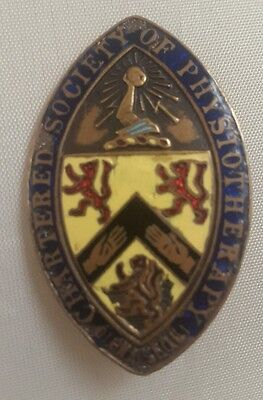 vintage pin - chartered society of physiotherapy enamel badge