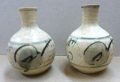 Pair Of 19Th Cent.  Korean Blue & White Pottery Rice Wine Bottles - Vg Cond.