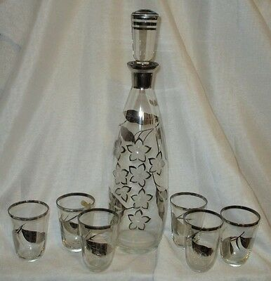 Vintage Clear & Frosted Glass 'Exquisite' brand decanter & glasses set labelled