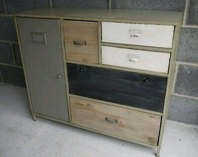 Shabby Vintage Industrial Metal Wood Sideboard Cabinet & Retro Storage Draws