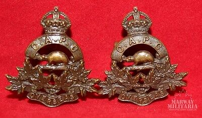 WW1 CEF, Canadian Army Pay Corps OFFICERS Collar Badge Lot (Inv8436)
