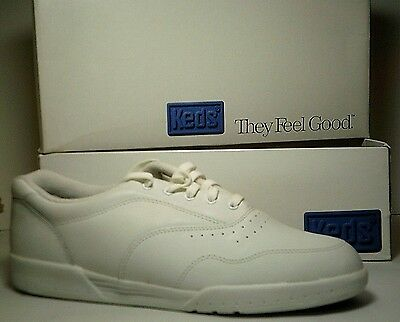 Womens Keds Sport Leather Casual Sneakers White Size 10M ~ NIB
