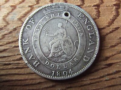 George Iii. 1804, Bank Of England Silver Dollar.  Scarce.  Nice Condition.