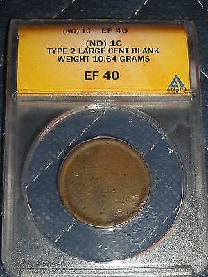 Type 2 Large Cent Blank Planchet Weighs 10.64 Grams