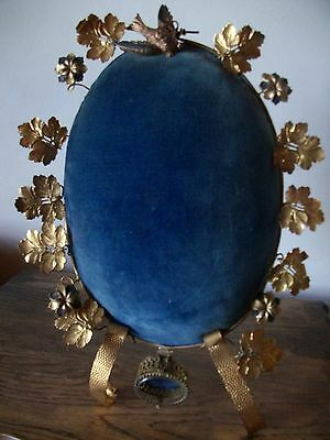 Gorgeous Oval  French Antique Gilded Blue  Velvet Marriage Stand
