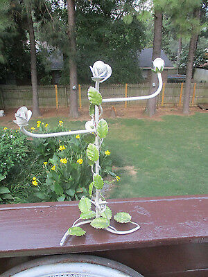 VTG Italian Tole WHITE CABBAGE Rose flowers TOWEL HOLDER jewelry display store