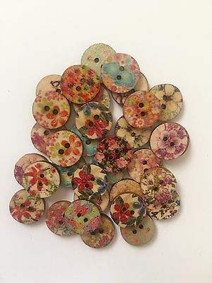 30pcs x Mixed Design Flower Coloured Wooden Buttons Floral Vintage Printed 15mm