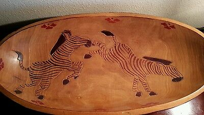 African hand carved, painted wooden bowl, beautiful oval bowl w/ stand