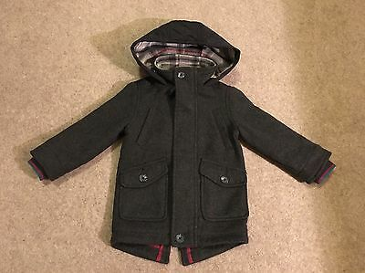 Ted Baker Boys Charcoal Wool Winter Hooded Coat 2-3yrs *great condition*