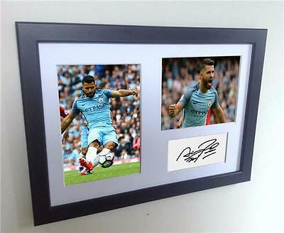 Signed Sergio Aguero Manchester City Autographed Photo Picture Frame Print A4