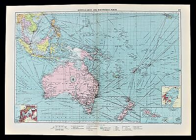 1952 Australia Hawaii Philippine Map Shipping Mail Ports Railway Routes RARE