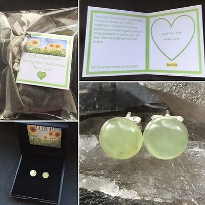 8mm Sterling Silver & New Jade Stud Earrings - Healing Crystal Gemstones. Gift