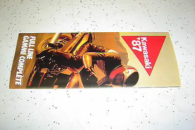 1 Kawasaki 1987 Fulline Brochure NOS.Folder type 12 pages,