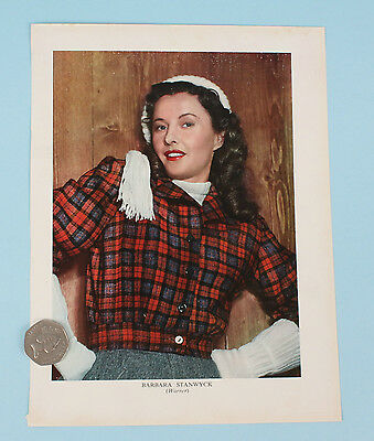 Barbara Stanwyck vintage hollywood print illustration from 1948, colour.