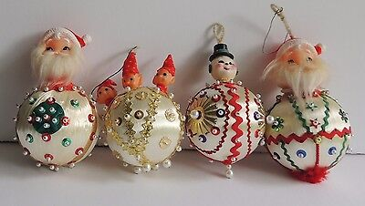 Vintage 4 Hand Made Large Sequined Jeweled Santa Snowman Elves Ball Ornaments