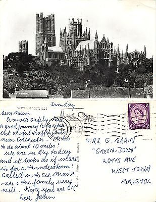 s07921 Cathedral, Ely, Cambridgeshire, England RP postcard posted 1965 stamp
